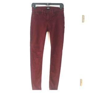 Hudson burgundy color skinny jeans